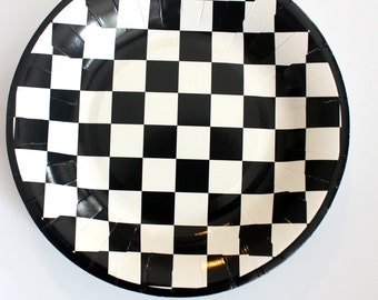 16 BLACK And WHITE CHECKERED Paper Plates Cars Racecar Checkers Alice Wonderland Wedding Bridal Shower Birthday  sc 1 st  Etsy & Sale 24 FLORAL TEA CUPS Saucers Set Tea Party Cups Drinking