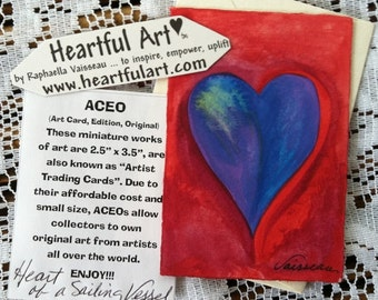 Heart ACEO Original Watercolor Small Valentine Painting Red Blue ATC Artist Trading Card Friendship Gift Heartful Art by Raphaella Vaisseau