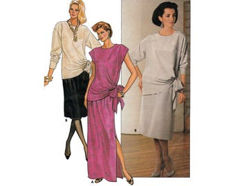 Women's Pullover Top and Straight Skirt Sewing Pattern, Misses Size 10 Bust 32 1/2 Uncut Vintage Butterick 6756