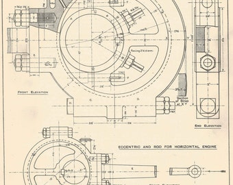 Machine drawing 1930s vintage industrial print engineering eccentric for locomotive machine drawing 1930s vintage industrial print engineering drawings blueprint art plan gift home malvernweather Image collections