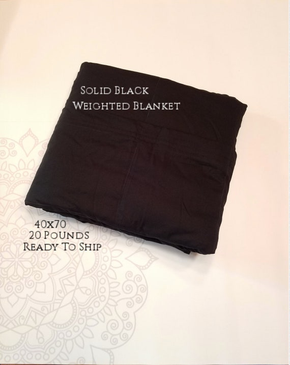 READY to SHIP, Weighted Blanket, 40x70-20 Pounds, Black Woven Cotton Front, Black Woven Cotton Back, Sensory Blanket, Calming Blanket,