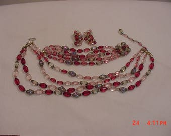 Vintage Pink And Aurora Borealis Glass Beads Adjustable Necklace - Bracelet & Clip On Earrings Parure  17 - 1347