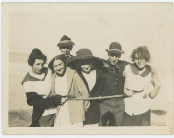 Vintage Print Snapshot Photo: Motley Crew Roped In, 1920s (612527)