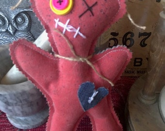 Red Hot Lover Love Voo Doo Doll - Poppet- Pincushion - Red Denim - Zombie -Juju Doll