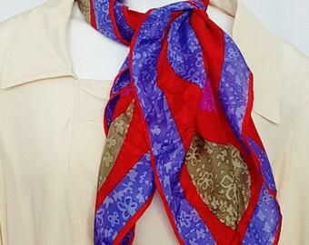 Vintage 70's VERA Colour Block Large Paisley Print Silk Scarf