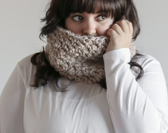 Chunky Cowl Scarf Textured Warmer Hood | THE GALWAY in Linen
