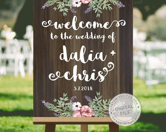 Large wedding sign, wooden wedding signs, wedding sign design - PERSONALIZED welcome sign - summer wedding signs, DIGITAL file