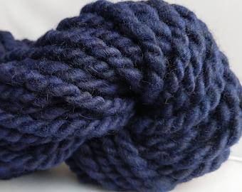 "Super Bulky Handspun Yarn Alpaca & Wool 38 Yards Hand Dyed 2-Ply Dark Purple Doll Hair Knitting Supplies Crochet "" Royal Plum  ""  (2 avail.)"