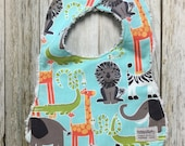 Gender Neutral Bib in Sky Blue Zoo Animals Fabric - Bab...