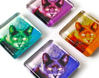 Russian Blue Cat Magnets, Cat Lovers Gift, Colorful Pop Art Cats, Magnet Set,  Gift Set, Handmade Gifts, Gray Cat, SALE!