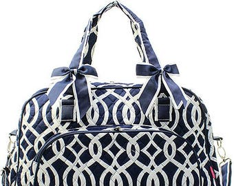 Girls Monogrammed Duffel Bag Girls Personalized Navy Vine Weekender Overnight Bag