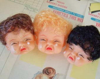 Vintage / Plastic Doll Heads / Three Items / Cry Babies / Blonde,  Brown and Black Hair / Unusual / Retro Kitsch