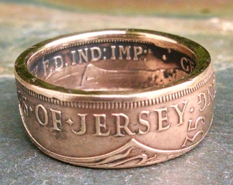 Bronze Coin Ring - 1935 States of Jersey Coin Ring - one twelfth shilling - Size: 9 3/4