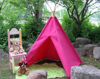 Canvas Kids Tent, Teepee, Tepee, Tipi,  Hot Pink Canvas, Large and Durable, 6 Foot Poles Included, Custom Order