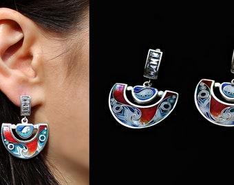 """Earrings """"Peacock"""" by Cloisonne Enamel, handmade, unique"""