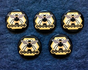 Resist for Bees Buttons - 5 pack
