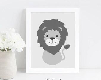 Nursery Wall Art, Lion Nursery Print, Printable Nursery Wall Art, Kids Gift, Safari Nursery Art, Grey Animal Print, Digital Download Art