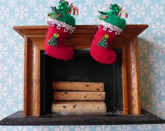 Vintage Dollhouse Miniature Fireplace & Handmade Christmas Stockings