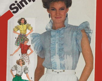 Vintage 80s Blouse with Ruffled Neckline and Sleeve Variations Sewing Pattern Simplicity 5818 1980s Pattern Size 14 Bust 36 UNCUT