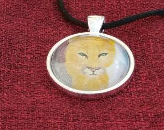 Mountain Lion pendant,big cat jewelry,blue ridge mountains,VA wildlife,cougar portrait,flame bilyue, panther necklace,wildlife jewelry