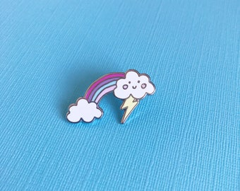 Cloudy Rainbow Enamel Pin | cute lapel pin hat badge