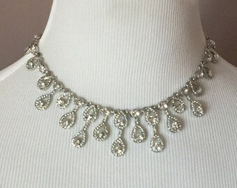 Antique silver crystal wedding necklace and earrings are perfect for any bride