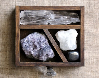 handmade wood curio drawer and crystal and mineral stone collection