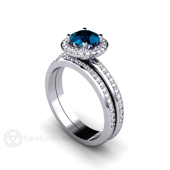 london blue topaz engagement ring wedding band diamond halo wedding set blue december birthstone - Blue Topaz Wedding Rings