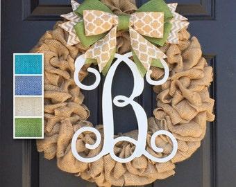 Initial Burlap Wreath,Monogram Wreath,Front Door Wreath,Personalized  Housewarming Gift,Year