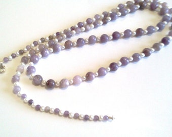 Natural Lilac Stone Single Strand Long Purple Beaded Necklace, White Glass Pearl Jewelry, Purple Bead Jewelry, Handmade
