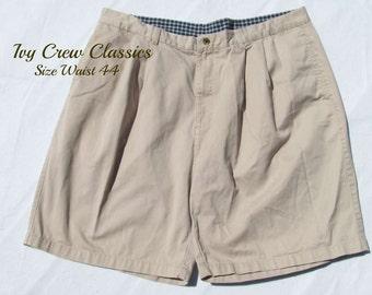 men's pleated front  shorts, tan shorts,men's 90's shorts, men's dress shorts,size 44 shorts,   # 28
