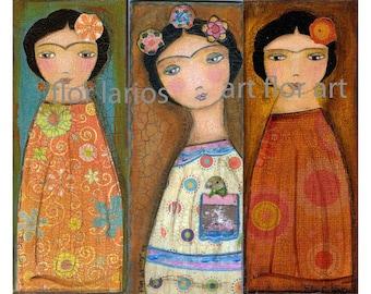 Three Fridas - Giclee print mounted on Wood (8.5 x 11.5 inches) Folk art by FLOR LARIOS