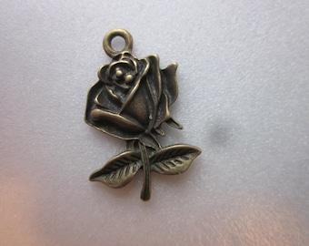 SALE -  Antique Bronze Rose Pendants 25.5mm 2 Pendants
