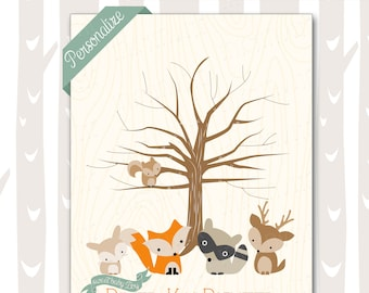Sweet Woodland Baby Shower Thumbprint Tree | Forest Friends Baby Shower Guest Book Alternative | Woodland Baby Animals 8x10 11x14 DIGITAL