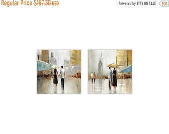 Memorial Closeout Sale Couples Under the Rain Wall Decor, Set of 2