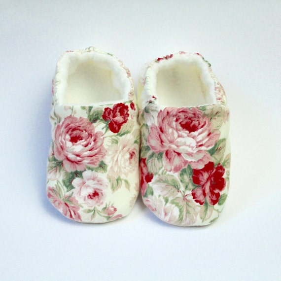 large pink rose with ivory background Baby Girl Shoes Hand Made In England