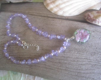 glass flower pendant with amethyst beads and pearls, romantic floral necklace, amethyst and pearls