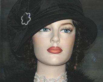 Kentucky Derby Hat Flapper Hat Downton Abbey Hat Church Hat Cloche Hat Gatsby Hat Roaring Twenties Hat Women's Black Hat - Josephine