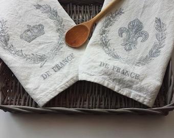 Tea Towel - French Towel - Blue Tea Towel - Flour Sack Cloth Towel - French Design Towel - French Kitchen Towel - Cotton Kitchen Towel