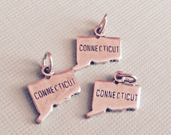 Connecticut State Charm Pendant with Loop, Antique Silver, Great for Charm Bracelets, Necklaces, Earrings