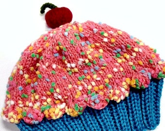 Cupcake Hat with Cherry on Top Rose Pink Frosting with Blue Raspberry cake hand knit - baby toddler children adult 3 6 9 12 18 months
