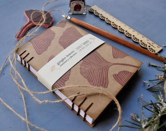 """Handmade notebook with recycled paper, handmade journal, hand printed journal, writers journal, """"gingko leaves"""""""