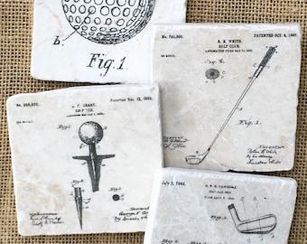 Golf Gift- Golf Decor, Fathers Gift, Golf, Sport Decor, Man Cave, Husband Gift, Mens Gift Idea, Study Decor, Office Decor, Golf Coaster