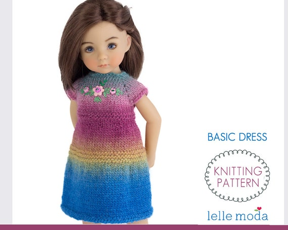 Basic Dress For Little Darling Dolls Knitting Pattern Doll Clothes