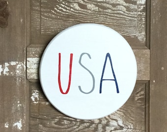 "Decorative 12"" USA White Wood Round Door Decor, Wall Decor, Rae Dunn inspired, Holiday Decor"