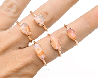 Raw SUNSTONE Ring // crystal ring / Sunstone ring / Gold Sunstone Ring/ Silver Sunstone ring / copper Sunstone ring / Orange White sunstone