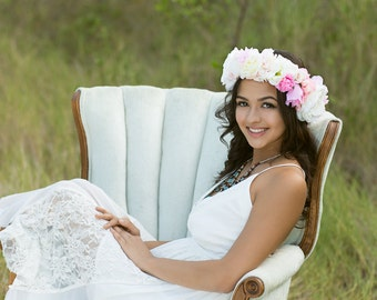 Pink and White Summer Floral Crown