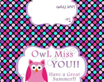 Owl Miss You Treat Bag Topper. Teacher Appreciation. End of Year.