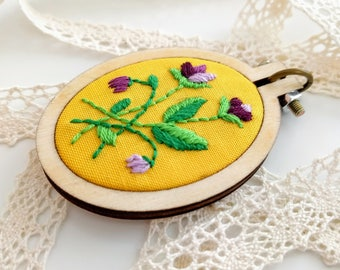 Hand Embroidered Necklace | Vintage Floral | Oval - small purple flowers on yellow fabric - Handmade Embroidery Jewelry - Pendant - Gift