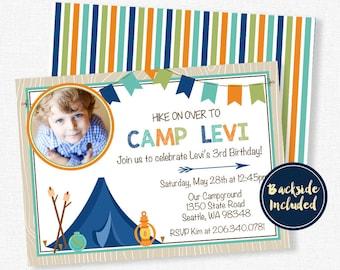 Camping Invitation, Boy Birthday Invitation, Camp Birthday Invitation, Photo Invitation, Hiking Party Invitation